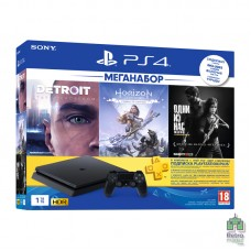 PlayStation 4 Slim 1TB + Detroit Become Human + Одни из нас + Horizon Zero Dawn Complete Edition (Русская версия) + PS Plus 3 Мес - интернет магазин Retromagaz