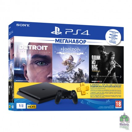 Консоли PlayStation 4 Новые - PlayStation 4 Slim 1TB + Detroit Become Human + Одни из нас + Horizon Zero Dawn Complete Edition (Русская версия)